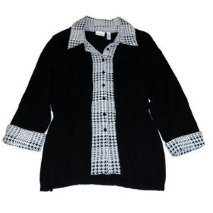 Kim Rogers houndstooth cardigan sweater top
